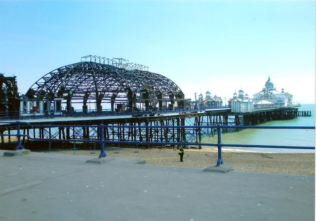 Eastbourne Pier showing fire damage
