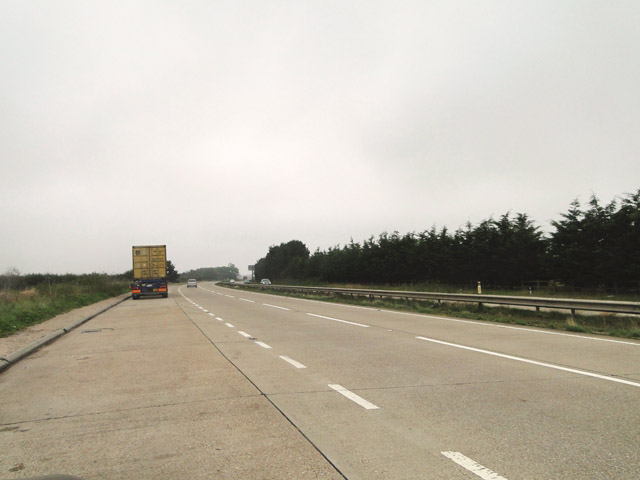 Lay-by on the A14 from Felixstowe