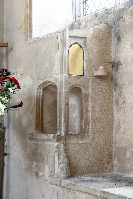 St Botolph, Trunch - Piscina & aumbry