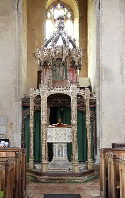 St Botolph, Trunch - Font & canopy