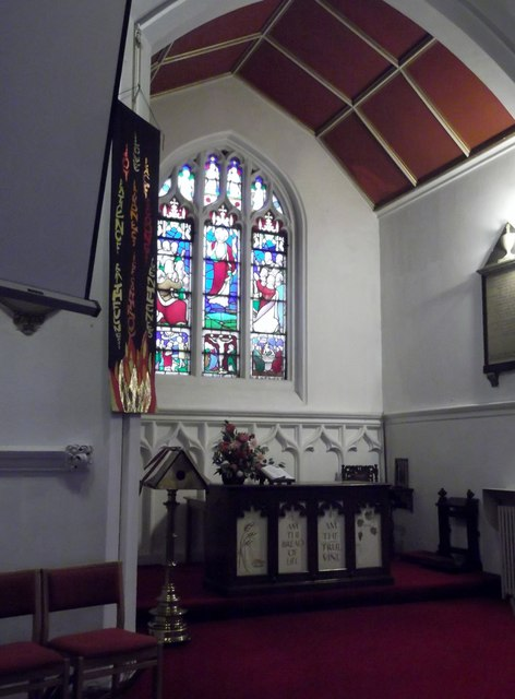 Altar and window, St Margaret of Antioch, Station Road, Edgware