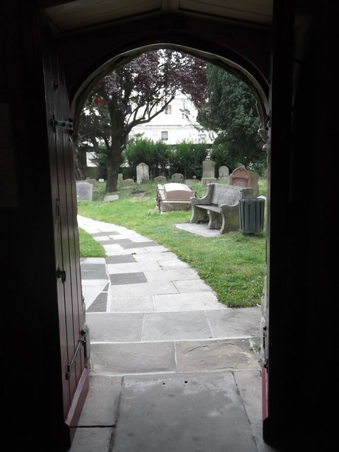 Door and path, St Margaret of Antioch, Station Road, Edgware