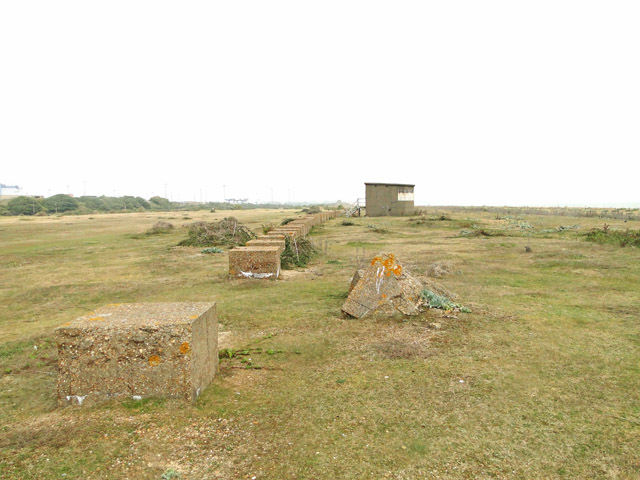 Line of anti-tank blocks and a coastal searchlight emplacement