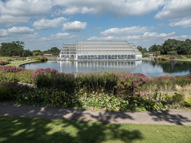 Glasshouses and Lake, Royal Horticultural Society Garden, Wisley