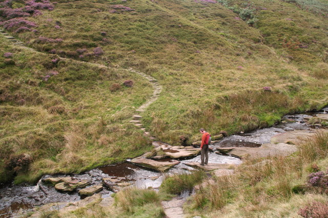 Crossing Dean Clough on the Pennine Way