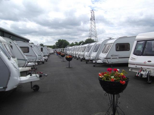 Serried ranks of Caravans for Sale at Salop Leisure