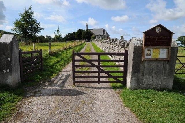 Gate and drive to St Mary's Church, Cefn Meriadog