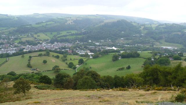 View to Llangollen town from Castell Dinas Bran