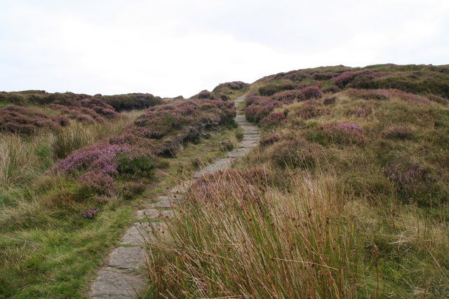Paved section of the Pennine Way near the Black Dike