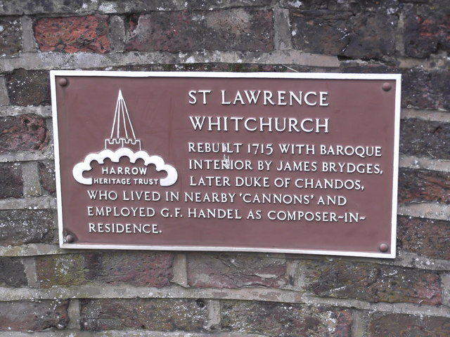 Plaque, St Lawrence Church, Whitchurch Lane, Edgware