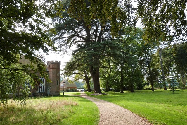 St. Paul's Chapel among the trees. Stansted House Estate