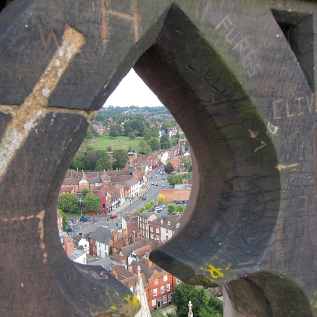 Looking through the cathedral tower