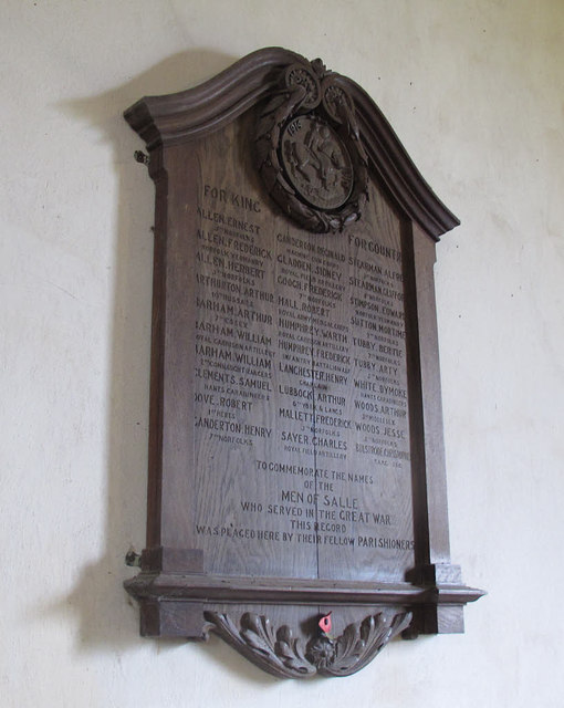 St Peter & St Paul, Salle: war memorial