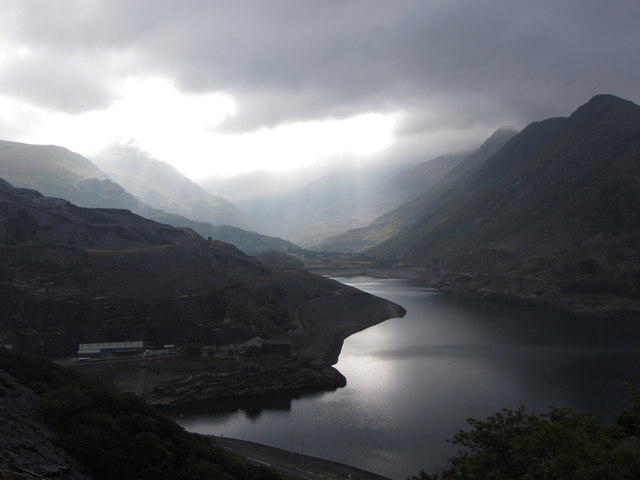 Llyn Peris and the Pass of Llanberis from Dinorwic Quarry