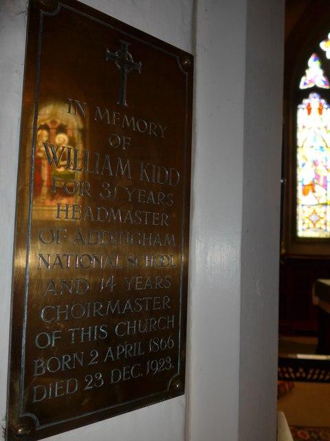 St Peter, Addingham: memorial (V)