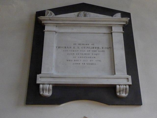 St Peter, Addingham: memorial (XII)