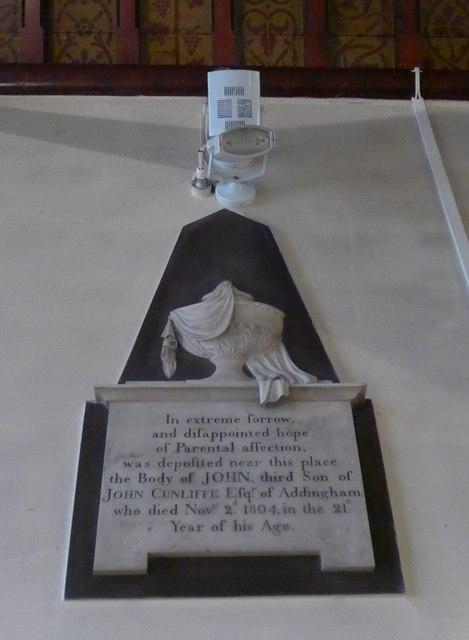 St Peter, Addingham: memorial (XVIII)