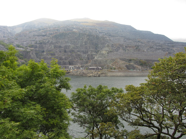 View across Llyn Peris to Dinorwic Quarry and Elidir Fawr