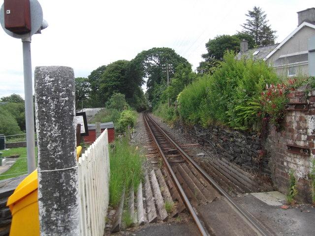 Ffestiniog narrow gauge railway track at Minffordd