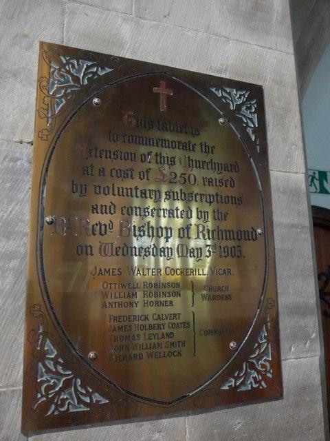 St. Mary, Kettlewell: memorial (VI)