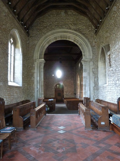 The beautiful Norman arch separating the chancel from the nave, Bosham church
