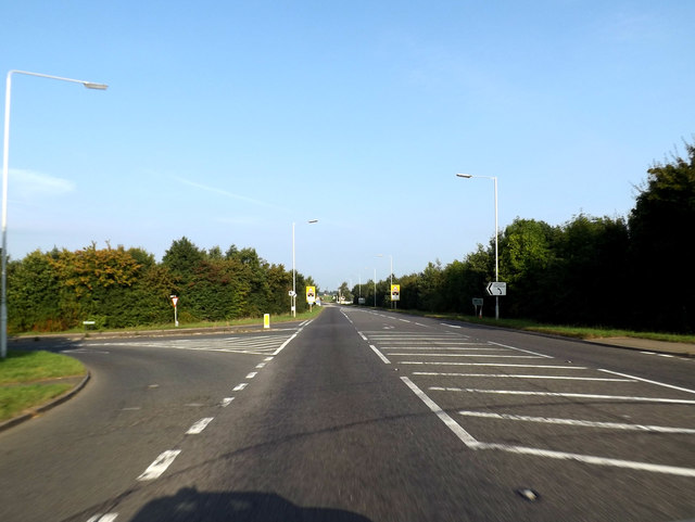 A10 at the junction with Lynn Road