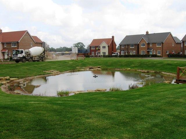 Pond on housing development
