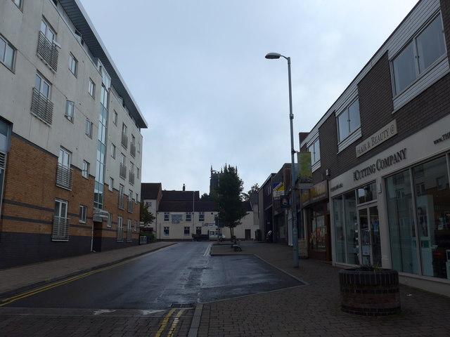 Looking along Biggin Street towards a distant All Saints
