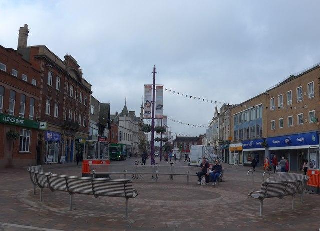 Market Place, Loughborough: mid September 2014
