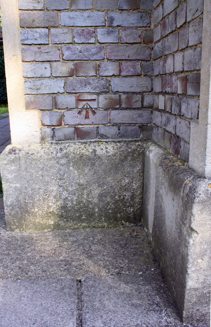 Benchmark on buttress of St Peter's Church