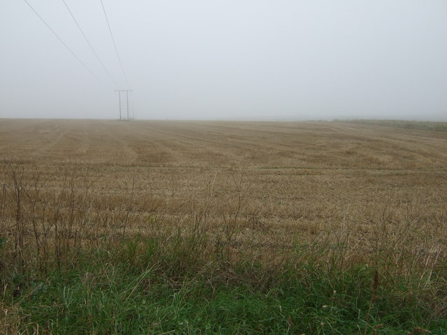 Stubble field and power lines