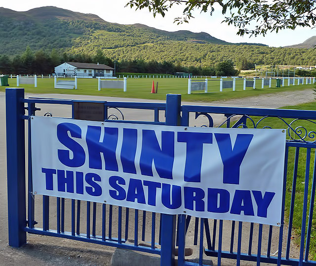 A banner at Newtonmore Shinty Ground