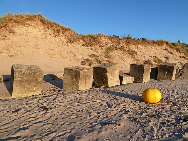 Anti-tank blocks at Burghead Beach
