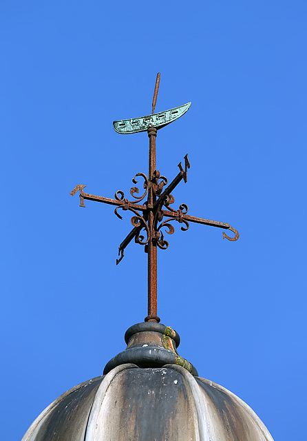 A weather vane on the Lossiemouth town hall and library building