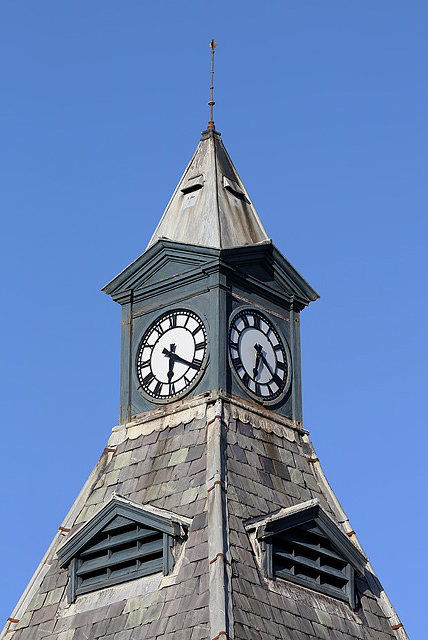 The clock tower on Lossiemouth town hall