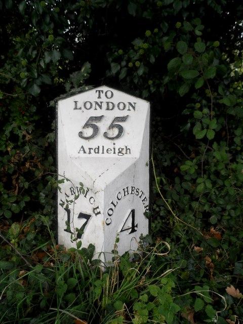 Milepost on A137, Ardleigh