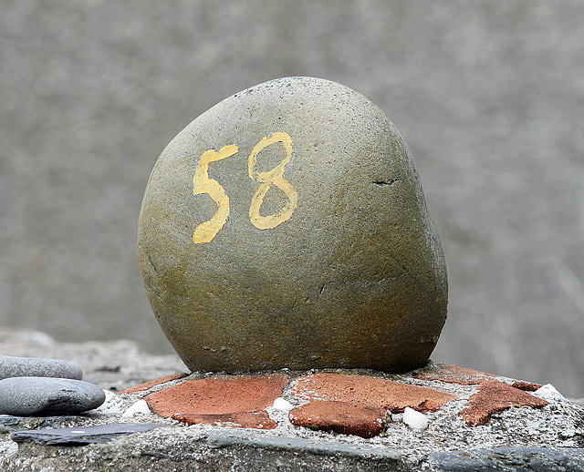 A house marker for No 58 at Crovie