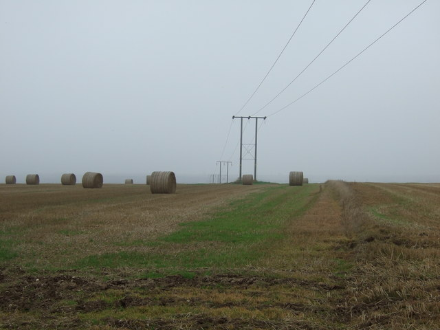 Power lines and bales