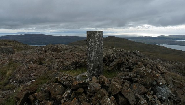 Triangulation pillar, Creach-Bheinn, Ardmeanach, Isle of Mull