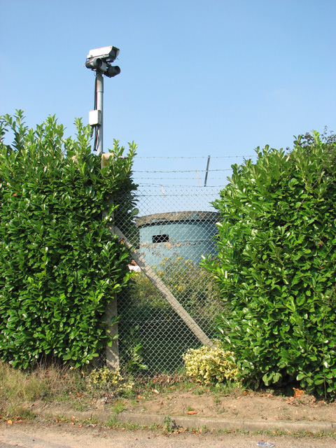 Security fence and camera at RAF Neatishead