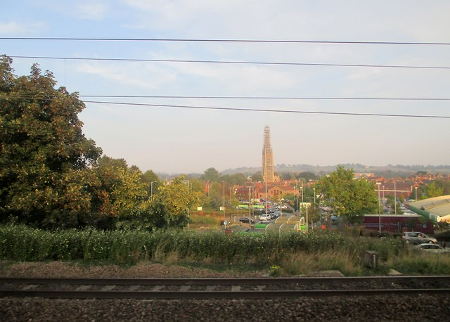 Scaffolding on St Wulfrum's spire