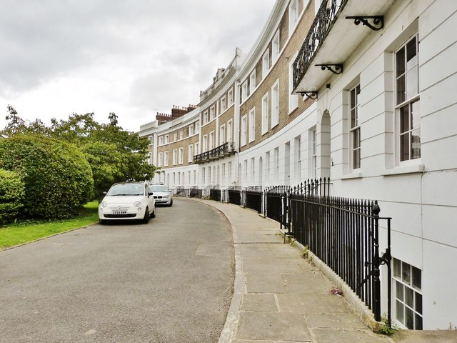 Elegant houses in Priory Crescent, Lewes