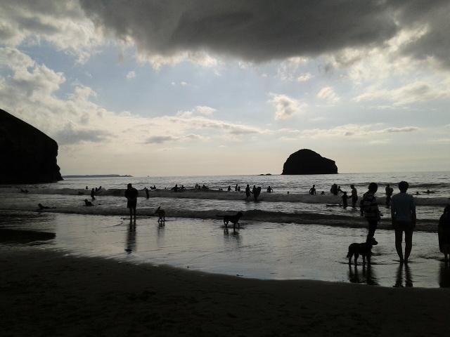 The beach and Gull Rock at Trebarwith Strand