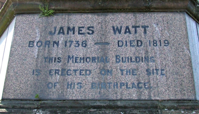 James Watt statue plaque