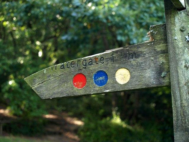 Footpath sign near Looe