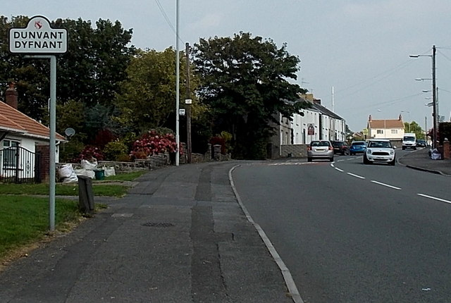 Dunvant boundary sign at the northern edge of Killay, Swansea