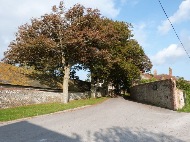 """Guessing that this lane is called """"Church Lane"""", Firle, East Sussex"""