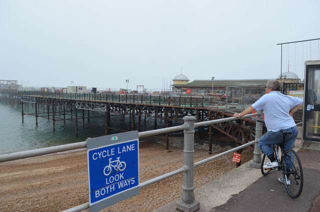 Watching the work on Hastings Pier