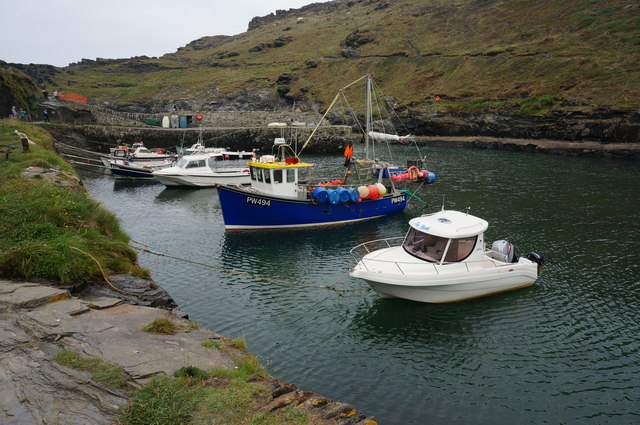 Boats moored in Boscatle Harbour