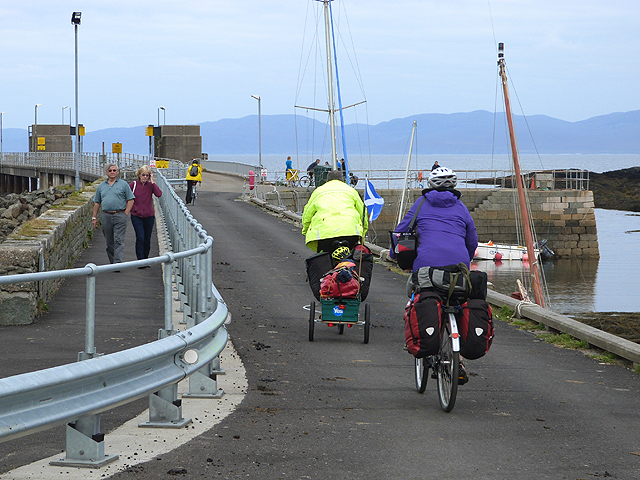 Cyclists on Scalasaig Pier